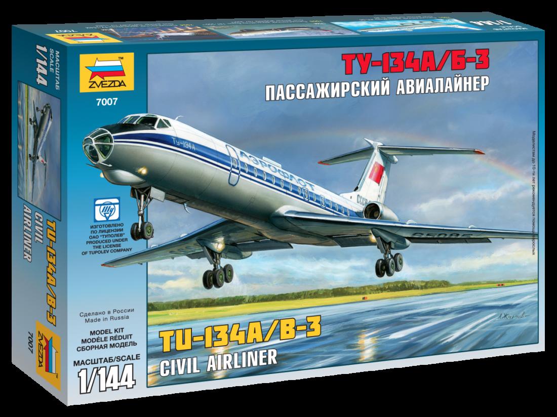 Сборная модель ZVEZDA 7007 Авиалайнер ТУ -134А/Б-3