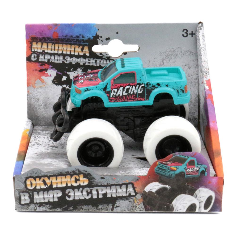Машина пластиковая FUNKY TOYS 60007 с краш-эффектом, пул-бэк, голубая