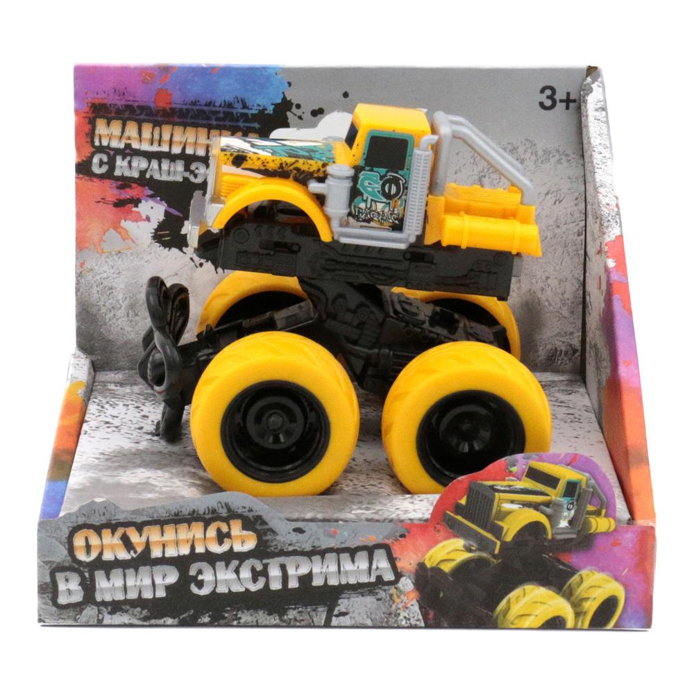 Машина пластиковая FUNKY TOYS 60005 с краш-эффектом, пул-бэк, желтая