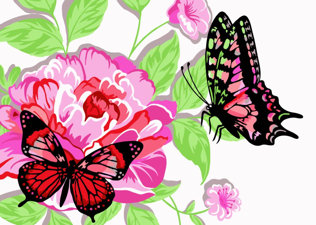 Раскраска по номерам РУССКАЯ ЖИВОПИСЬ KH001 Бабочки в пионах