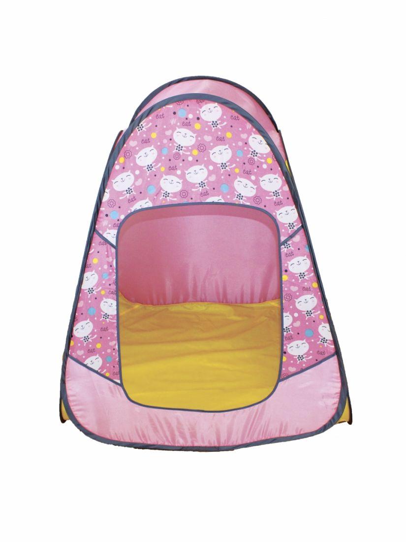 Палатка BELON FAMILIA ПИ-004-КМ-ТФ-КР Конусная 4гр., принт коты, розовая