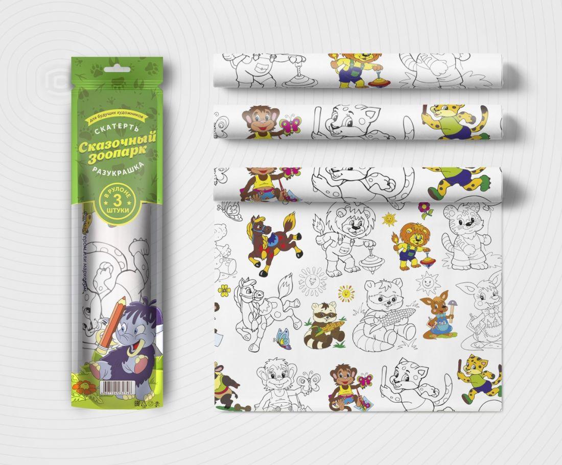 Раскраска МОЗАИКА-СИНТЕЗ V079652 Скатерть ButtenFilm Зоопарк