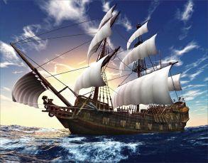 Алмазная мозаика «На парусах по ветру» 40x50 см