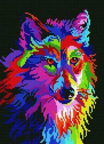 Алмазная мозаика «Радужный волк» 40x50 см