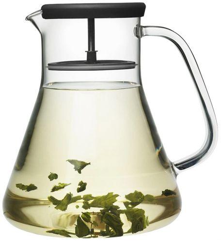 Чайник стеклянный Qdo Dancing Leaf чёрный