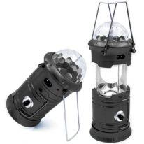 Складной кемпинговый фонарь с диско-шаром и солнечной батареей 4 в 1, 19 см., черный