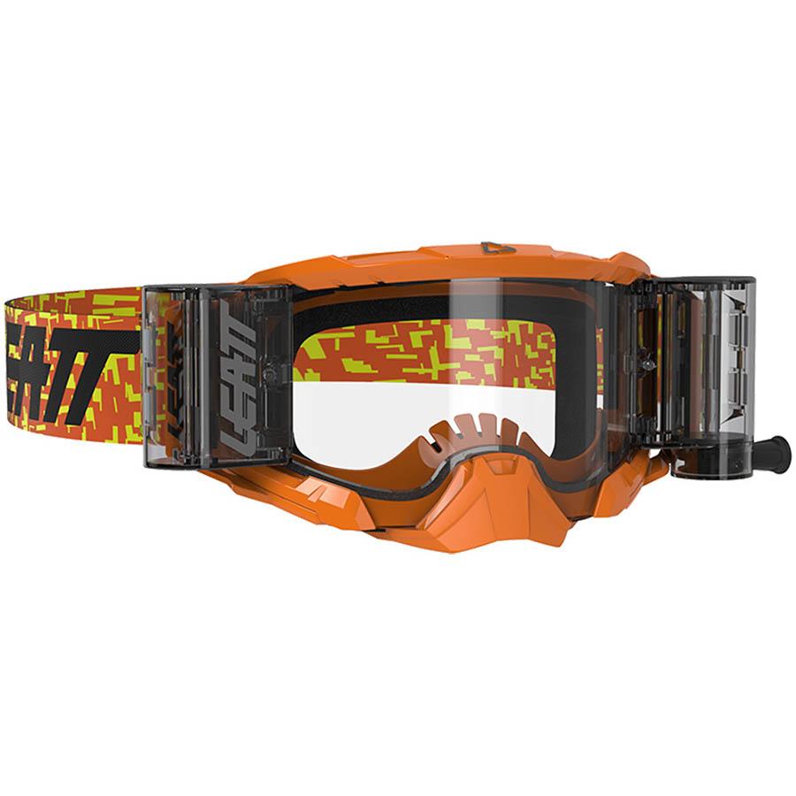 Leatt Velocity 5.5 Roll-Off Neon Orange/Clear 83% очки для мотокросса и эндуро с системой грязеочистки