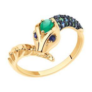 """Кольцо из золота с миксом камней """"Змея"""" 715857 SOKOLOV"""