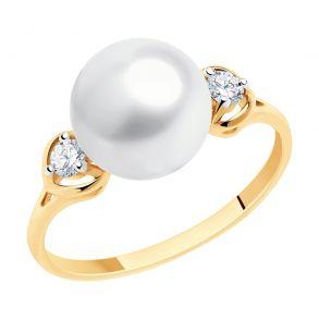 Кольцо из золота с жемчугом и фианитами 791174 SOKOLOV
