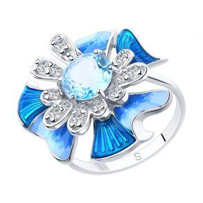 Кольцо из серебра с эмалью и топазом и фианитами 92011883 SOKOLOV