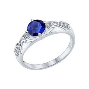 Кольцо из серебра с бесцветными и синим фианитами 94012217 SOKOLOV