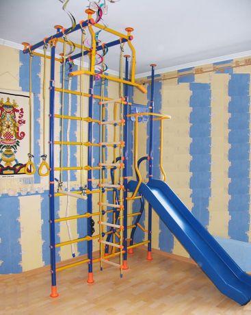 Детский спортивный комплекс Модель № 10 с сеткой для лазания LINE-CENTER и горкой ROTO-MOLD