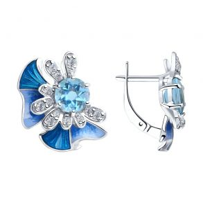 Серьги из серебра с эмалью и топазами и фианитами 92022101 SOKOLOV