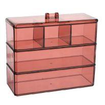 Акриловый органайзер для косметики Multi-Functional Storage Box QFY-3120, бордовый