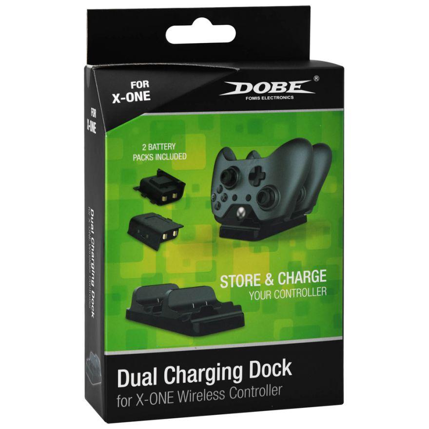 Зарядная станция для 2-х джойстиков Xbox One (Черная) + два аккумулятора Dobe (TYX-532)