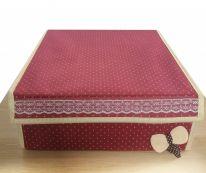Складной короб для хранения с бантиком, 31х35х13 см., бордовый