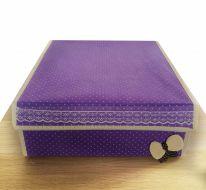 Складной короб для хранения с бантиком, 31х35х13 см., сиреневый