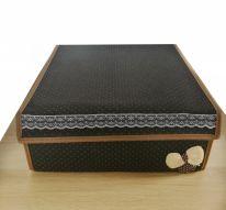 Складной короб для хранения с бантиком, 31х35х13 см., чёрный