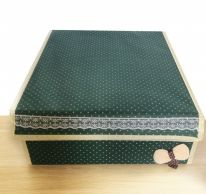 Складной короб для хранения с бантиком, 31х35х13 см., тёмно-зелёный