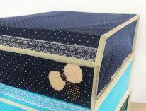 Складной короб для хранения с бантиком, 31х35х13 см., синий
