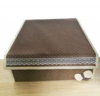 Складной короб для хранения с бантиком, 31х35х13 см., коричневый