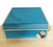 Складной короб для хранения с бантиком, 31х35х13 см., голубой