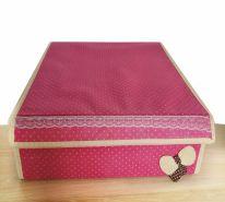 Складной короб для хранения с бантиком, 31х35х13 см., розовый