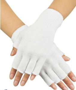 Перчатки без пальцев белые