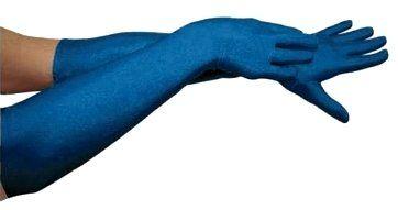 Перчатки карнавальные длинные синие