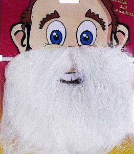 Карнавальная борода белая на блистере