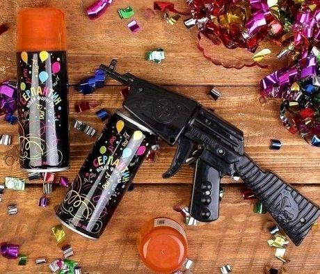 Спрей-серпантин с пистолетом оранжевый