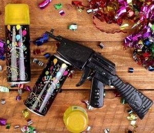 Спрей-серпантин с пистолетом жёлтый