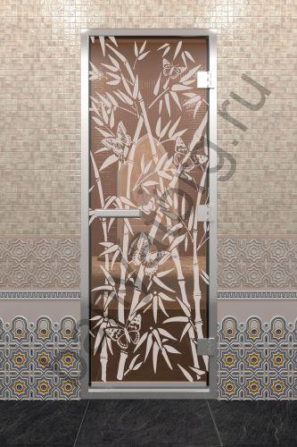Дверь для хамама Бамбук и бабочки бронза