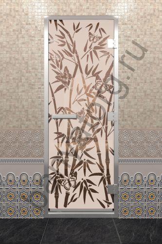 Дверь для хамама Бамбук и бабочки бронза матовая