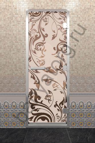 Дверь для хамама Венеция бронза матовая