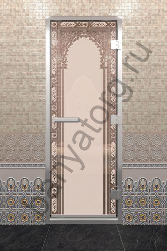 Дверь для хамама Восточная арка бронза матовая