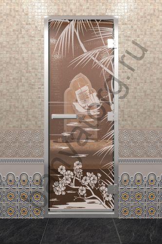 Дверь для хамама Голубая лагуна бронза