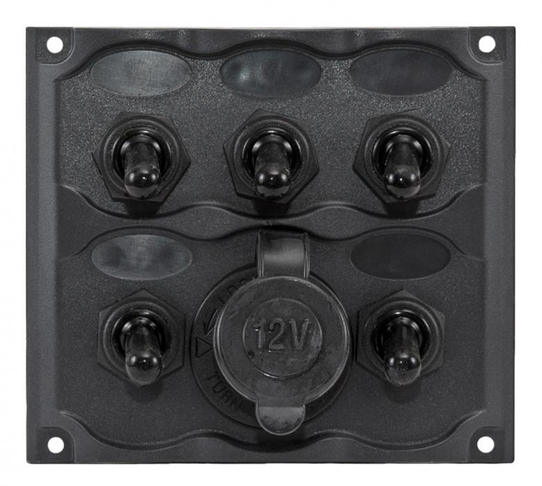 Панель с пятью выключателями и гнездом прикуривателя