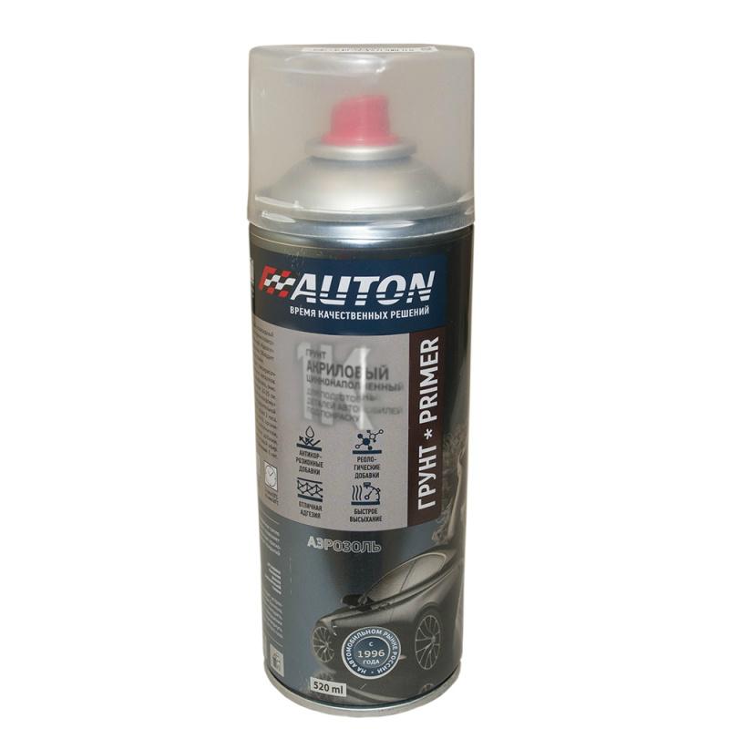"""Auton Грунт акриловый с цинком, название цвета """"Серый"""", в аэрозольном баллоне, объем 520мл."""