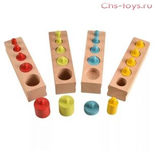 Цветные цилиндры (гирьки, бочонки) по методике Монтессори