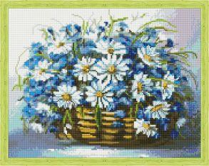 Алмазная мозаика «Букет ромашек и васильков в корзинке» 40x50 см