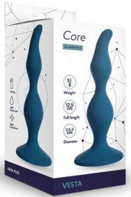 Анальная пробка Le Frivole Core Vesta S синяя, 12,5*3 см