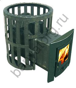 Печь-камин чугунная Березка Воевода 20 сетчатый кожух