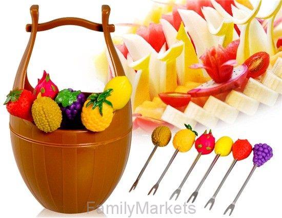 Набор шпажек для канапе в виде фруктов на подставке Wooden Casks Fruits Fork