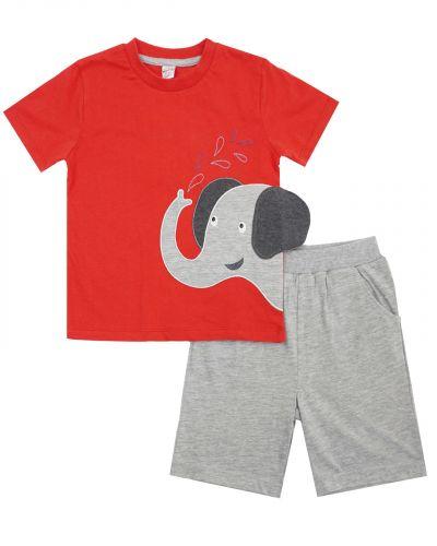 """Костюм для мальчика 1-4 лет Bonito OP498 """"Слоненок"""" красный"""