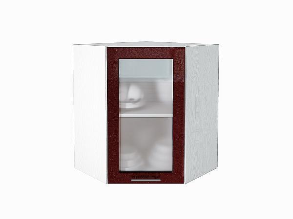 Шкаф верхний угловой Валерия ВУ590 со стеклом (гранатовый металлик)