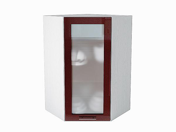 Шкаф верхний угловой Валерия ВУ599 со стеклом (гранатовый металлик)