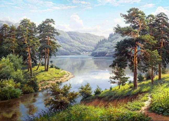 Картина по номерам на подрамнике GX36028, Прищепа Игорь, сосны на берегу у реки
