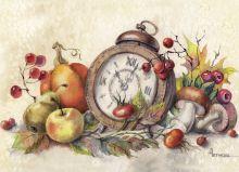 Почтовая открытка Время урожая