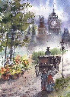 Почтовая открытка Утро в старом городе